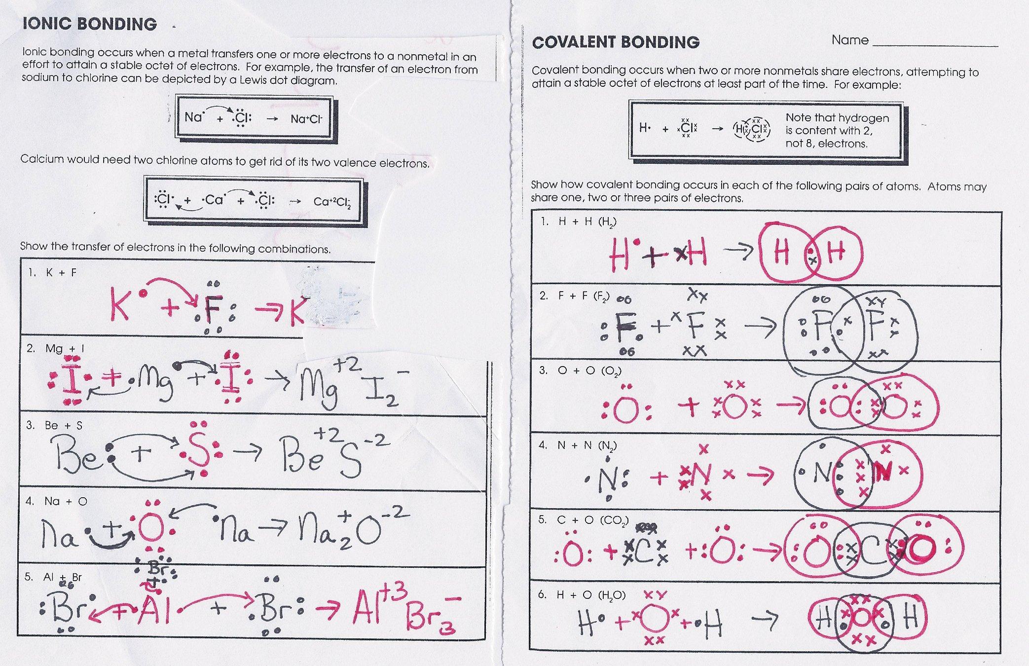 Worksheet Chemical Bonding Answers 594805