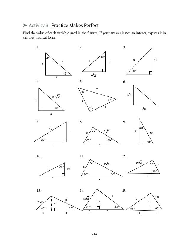 Worksheet On Special Right Triangles Answers 30839