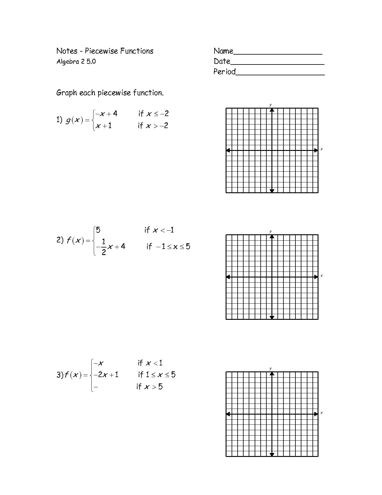 Worksheet Piecewise Functions Algebra 2 Key 487785