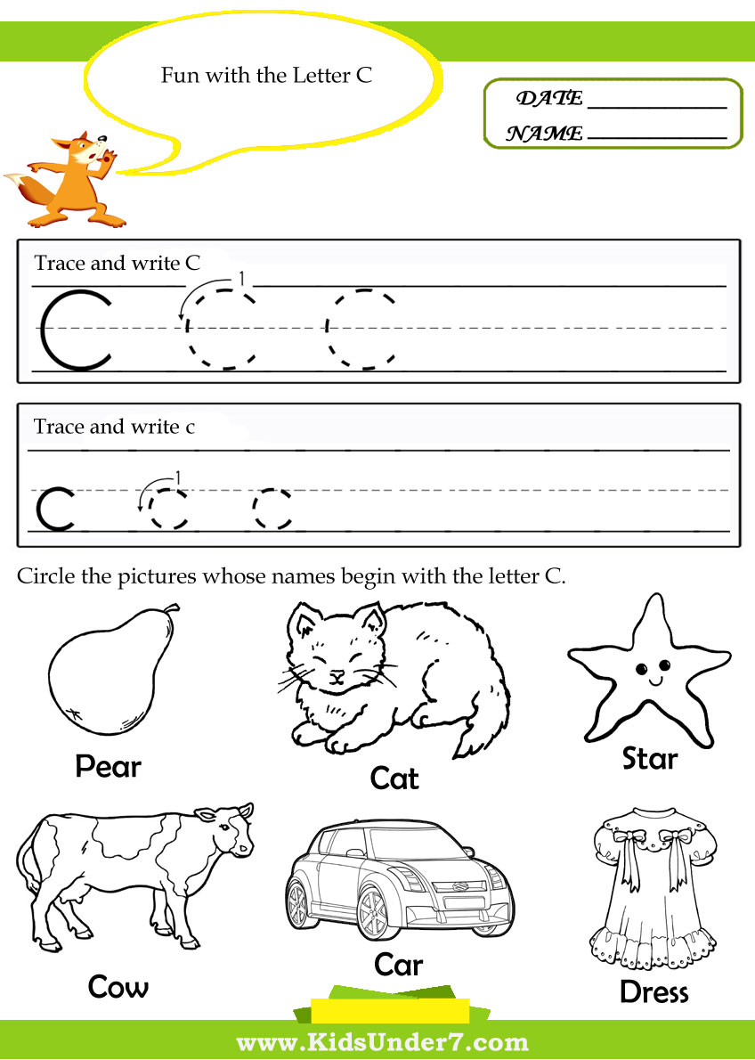 Worksheets For Letter C For Kindergarten 498612