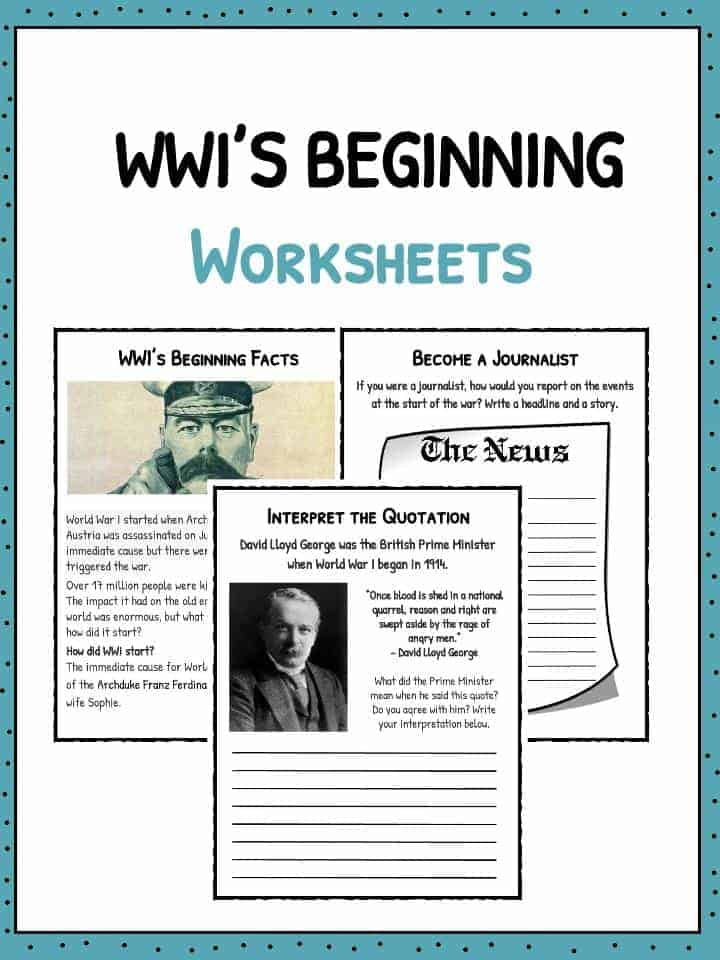 World War 1 Worksheets How Did Ww1 Start Worksheets Facts