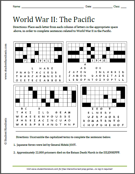 World War 2 Worksheets World War Ii Pacific Puzzles Worksheet