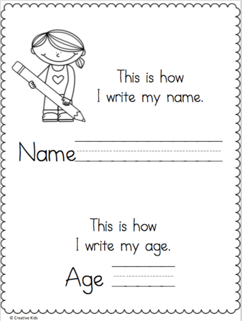Write My Name And Age Page