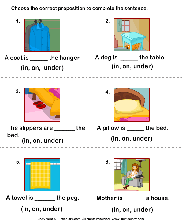 Write Preposition In On Under To Complete Sentences Worksheet