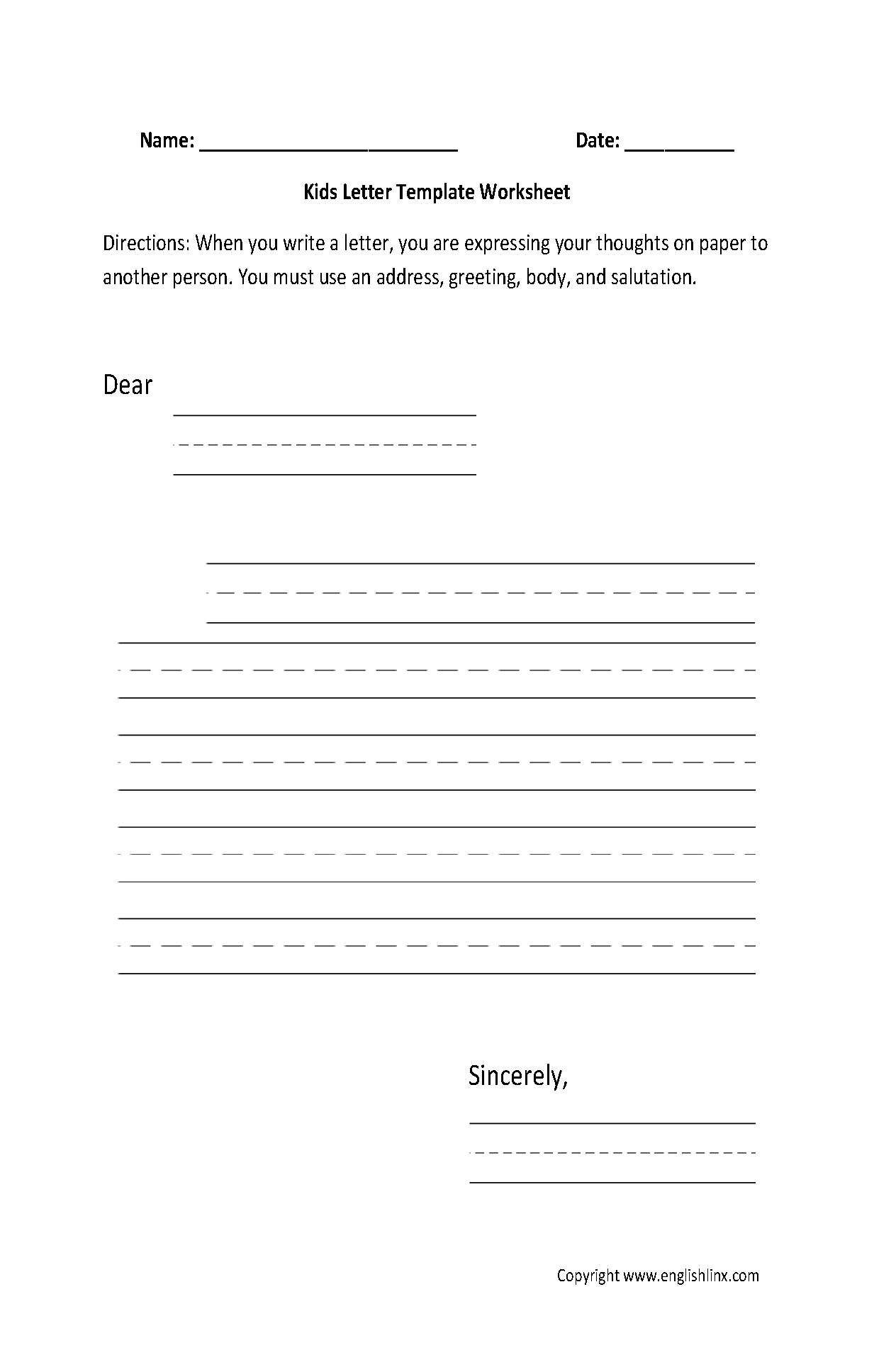 Writing Letters Worksheets For Kindergarten 456439