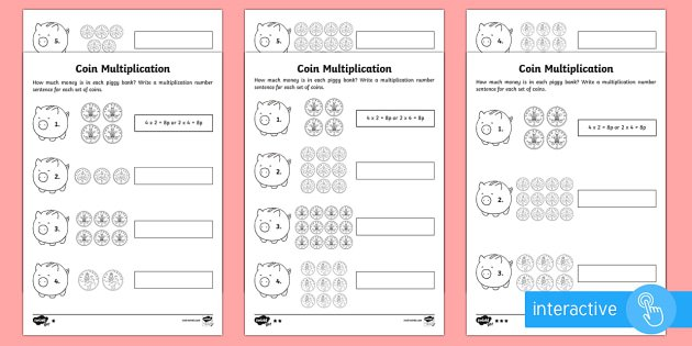 Year 2 Maths Coin Multiplication Homework Activity Sheet
