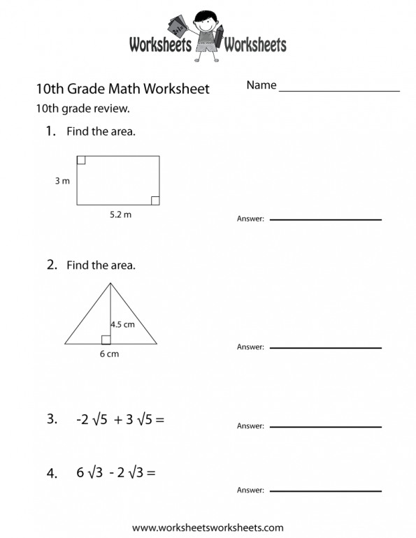 10th Grade Math Worksheets Free Printable For 10 With Answers Pdf