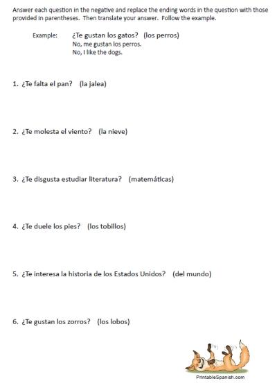 26 Gustar Worksheet, Translate English Sentences With Gustar