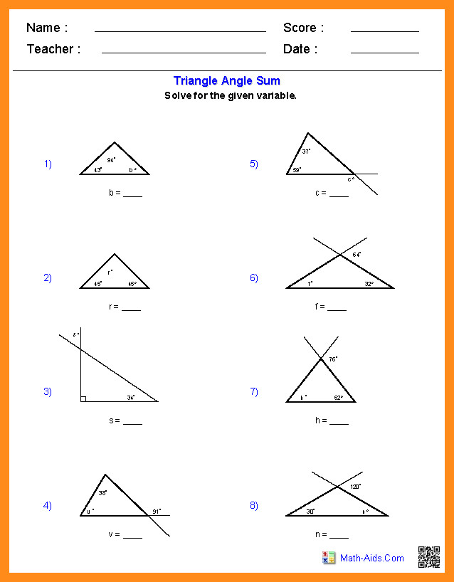 27 Awesome Worksheet Triangle Sum And Exterior Angle Theorem