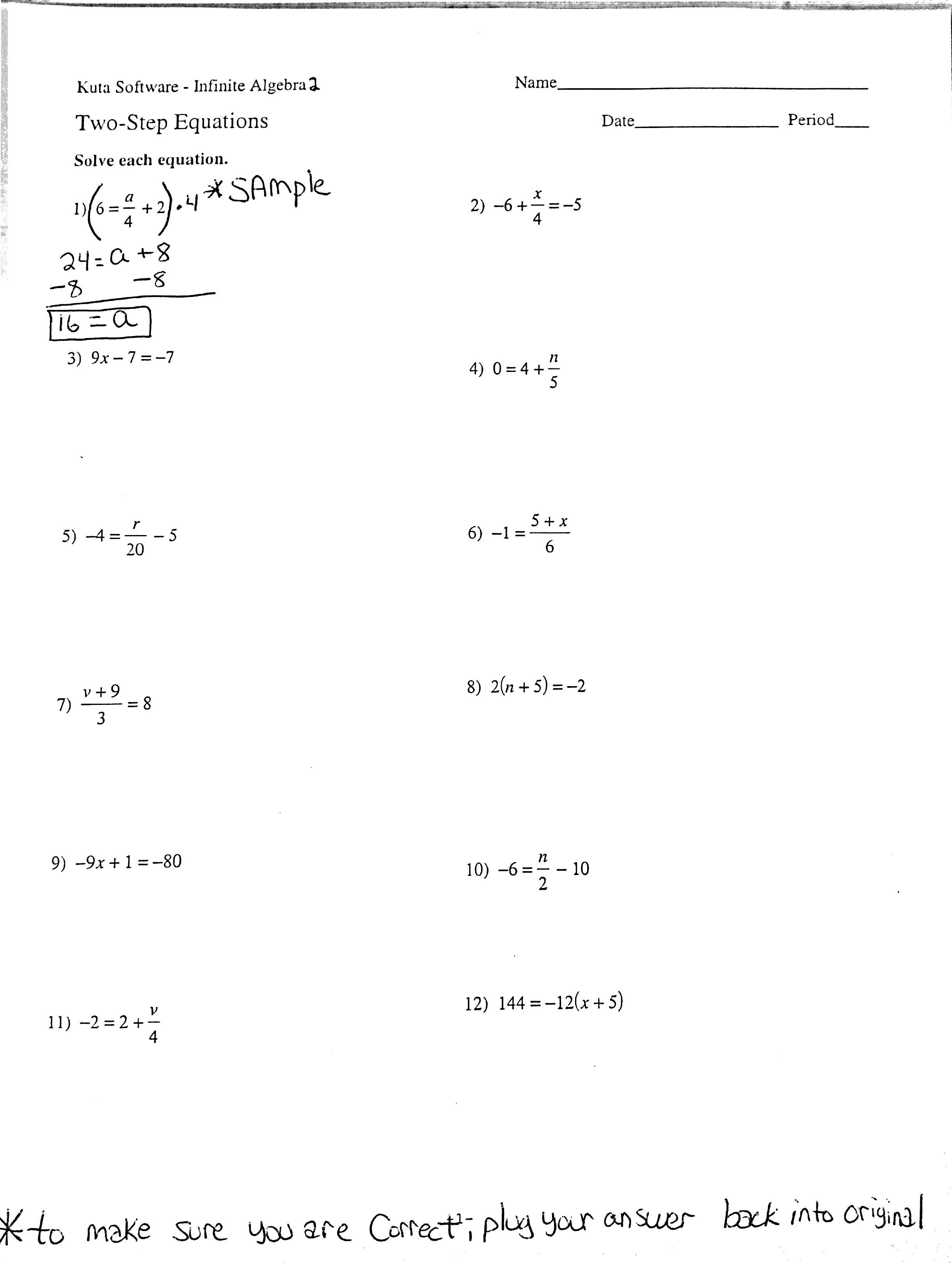 2 Step Algebraic Equations Worksheets The Best Worksheets Image
