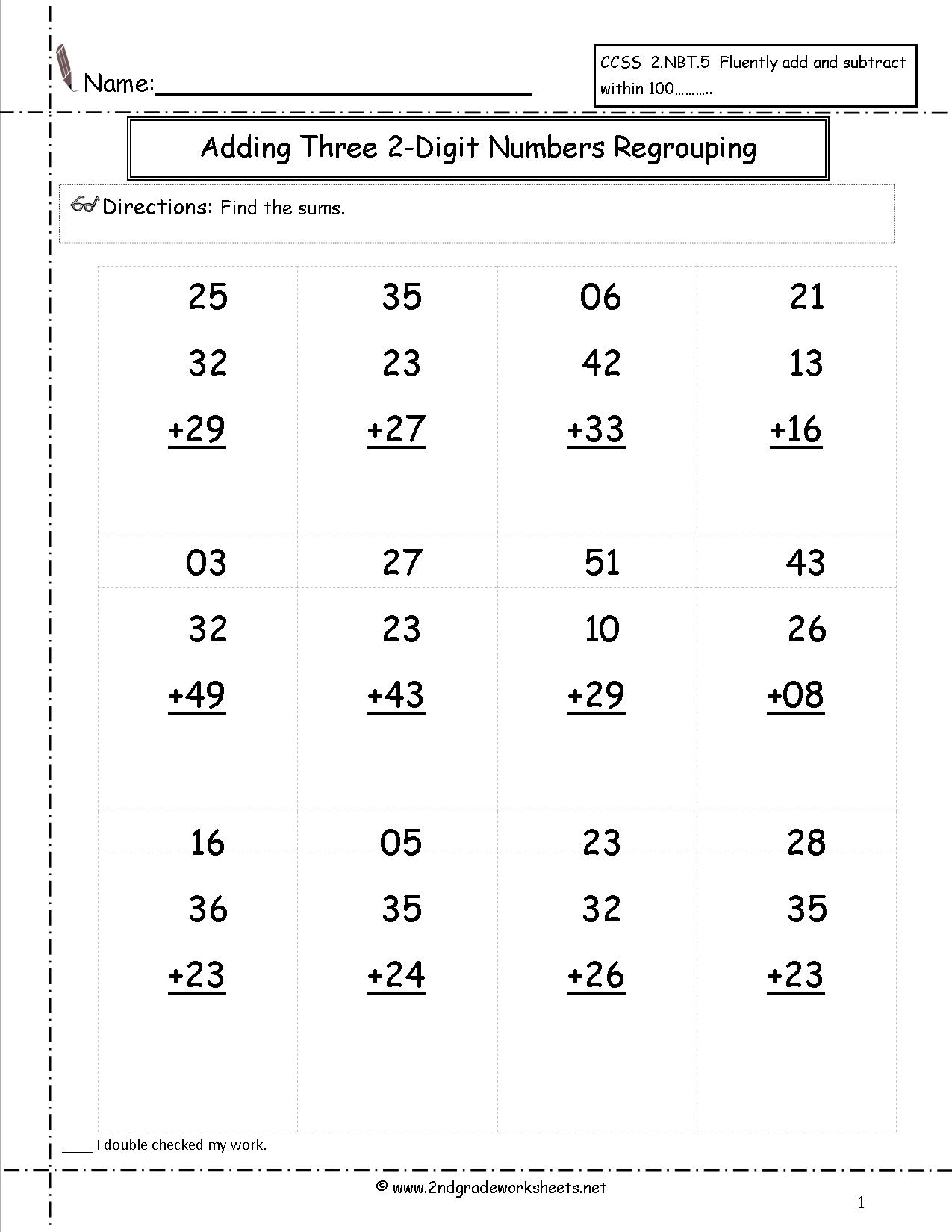 2nd Grade Math Worksheets Adding Two Digit Numbers 1132817