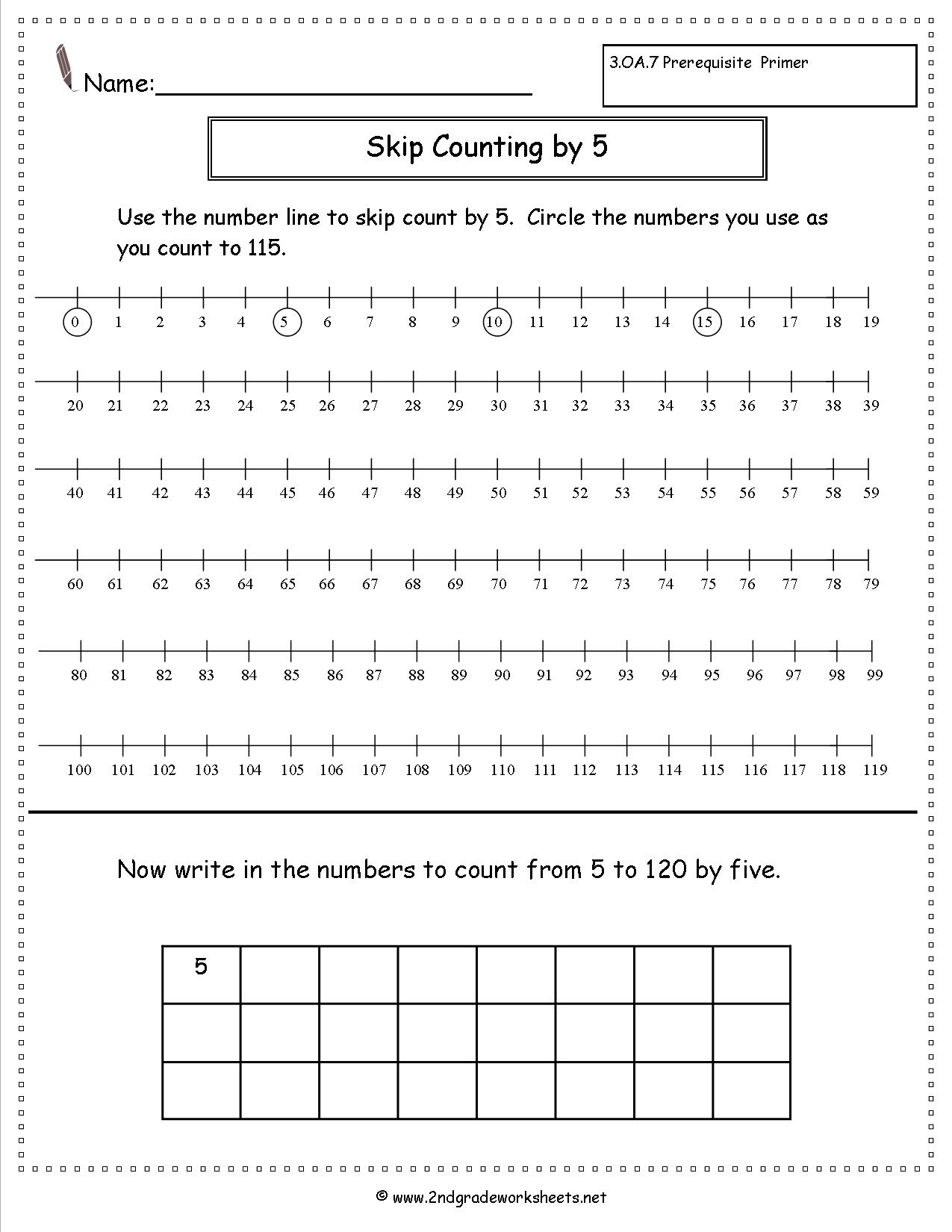 2nd Grade Math Worksheets Skip Counting 909474