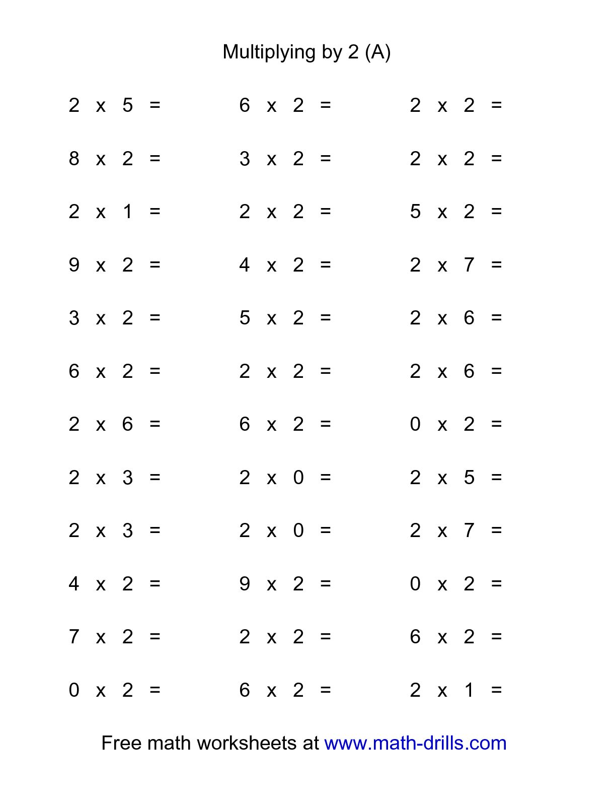36 Horizontal Multiplication Facts Questions 2 By 0 9 A