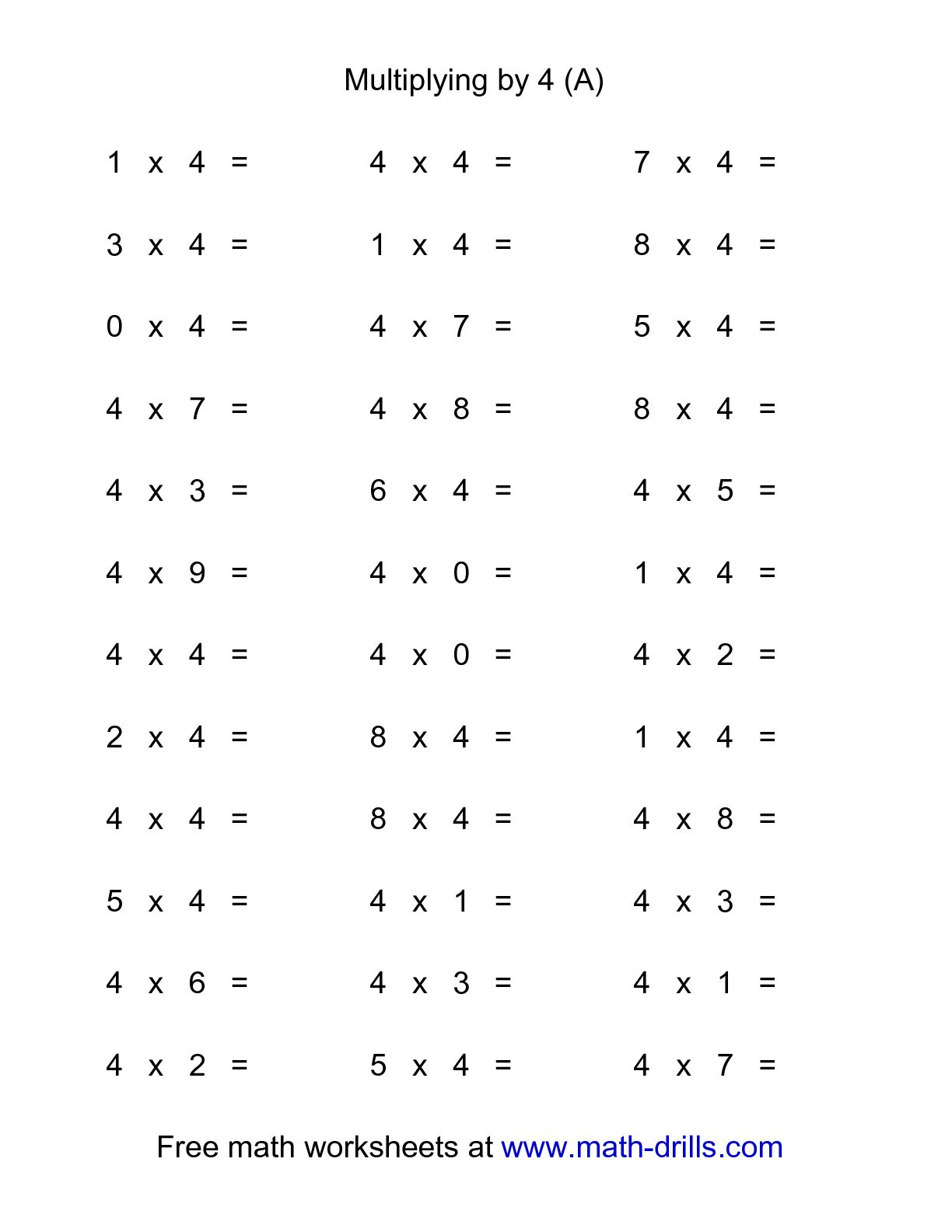 36 Horizontal Multiplication Facts Questions 4 By 0 9 A Worksheets