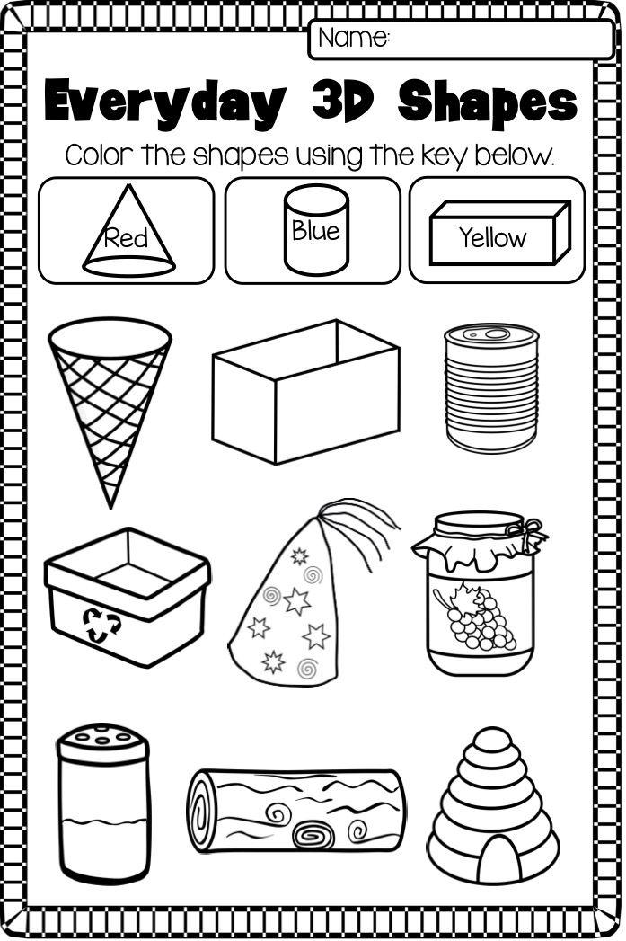 3d Geometric Shapes Worksheets For Kindergarten 1128948