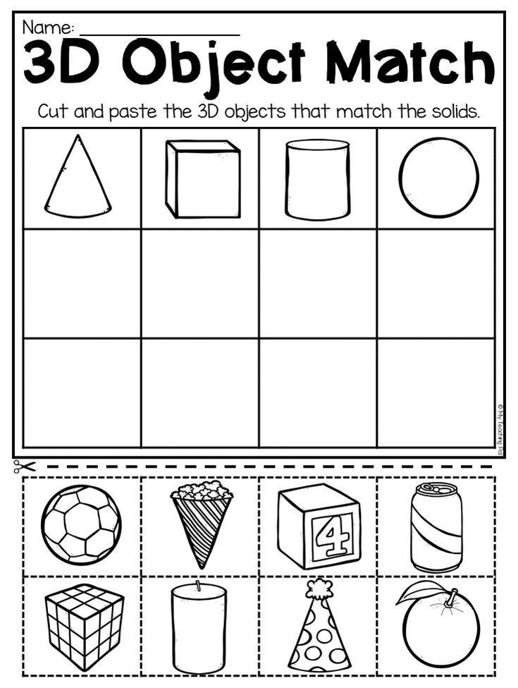 3d Shapes Worksheets For Kindergarten 342902