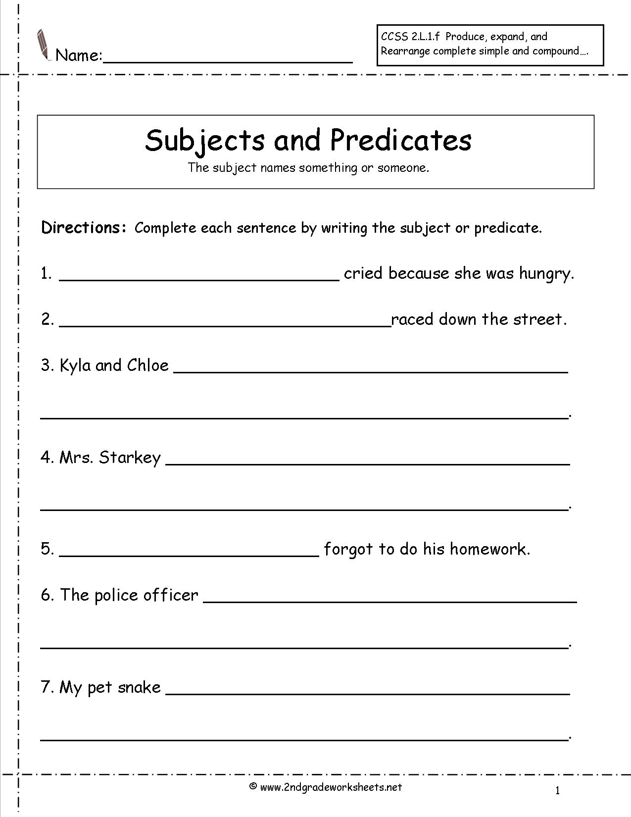 3rd Grade Subject And Predicate Worksheets 637