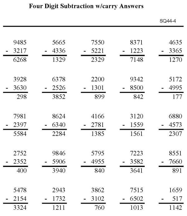 4 Digits Subtraction Worksheets The Best Worksheets Image