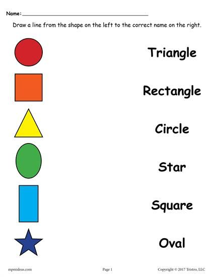 4 Free Shapes Matching Worksheets