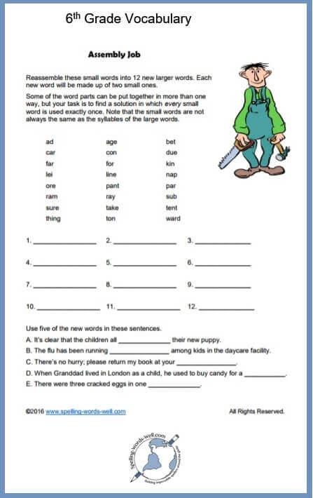 6th Grade Vocabulary Fun!
