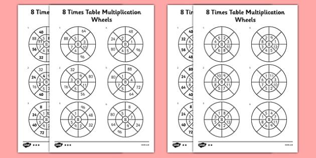 8 Times Table Multiplication Wheels Worksheet   Activity Sheet
