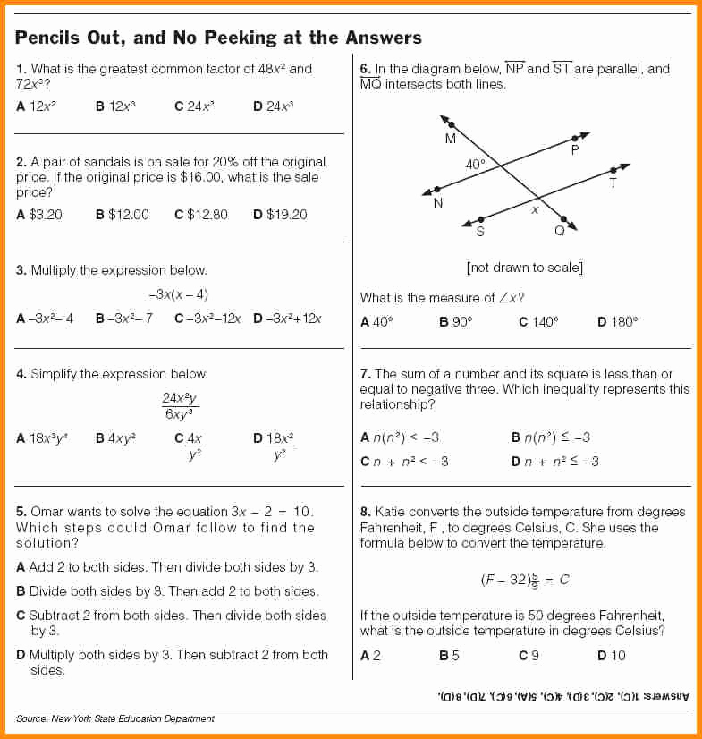 9th Grade English Worksheets Beautiful Collection Of Math Problem