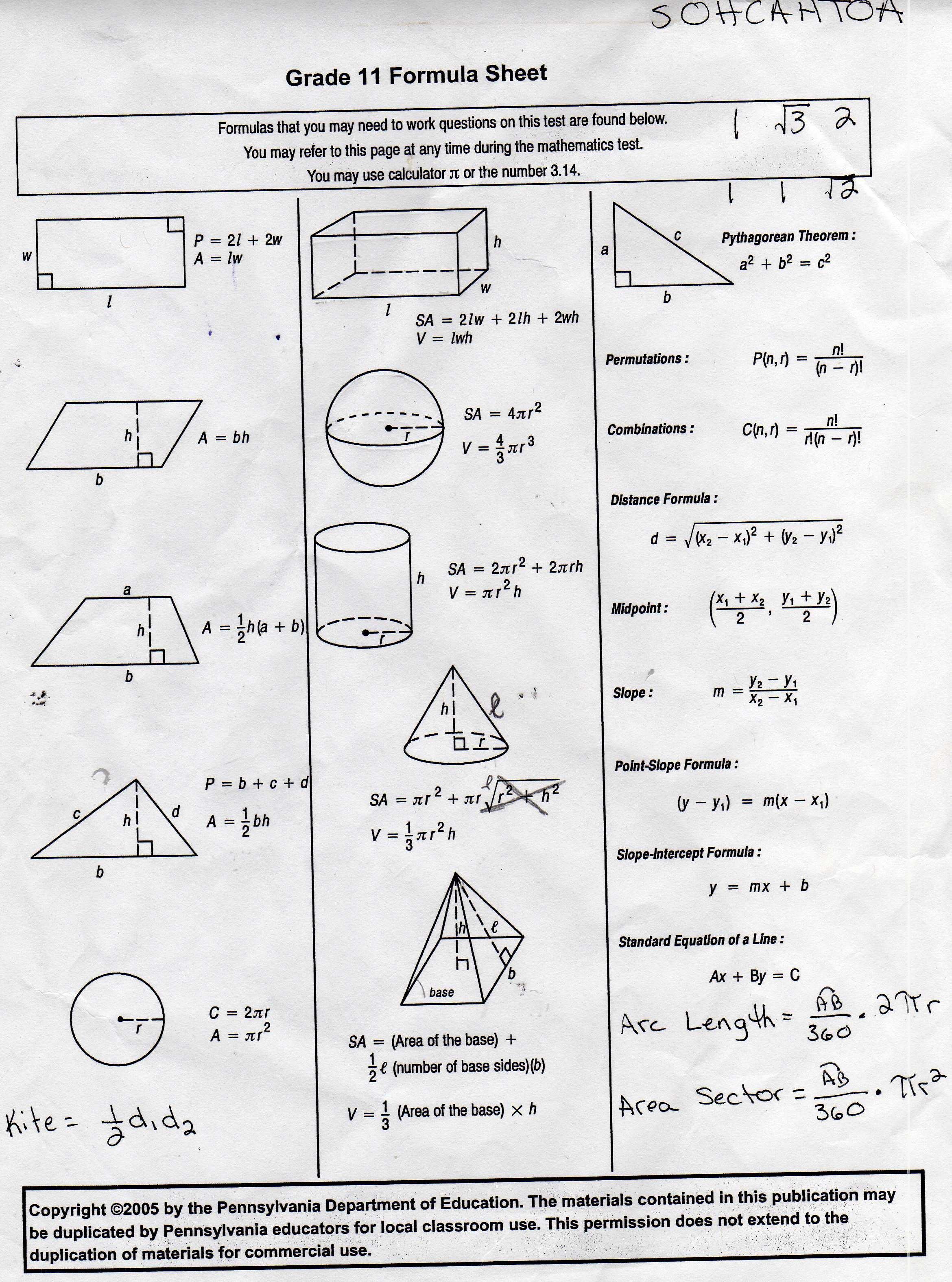 9th Grade Geometry Worksheet  640337