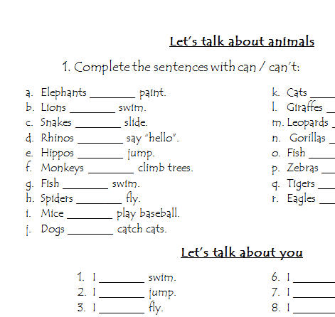 Abilities Worksheet  Let's Talk About Animals