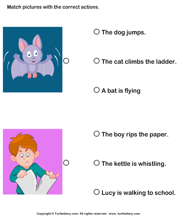 Action Verb Match The Picture With Action Worksheet