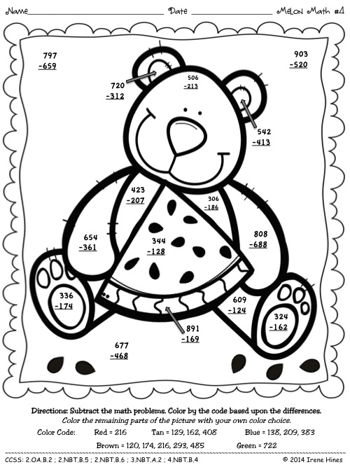 Adding 3 Numbers Coloring Pages Melon Math 3 Digit Addition
