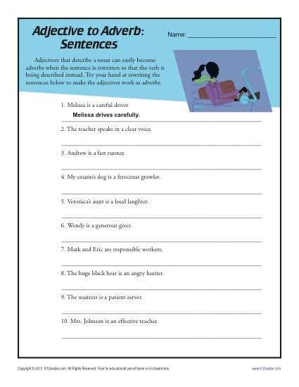 Adjective To Adverb Sentences