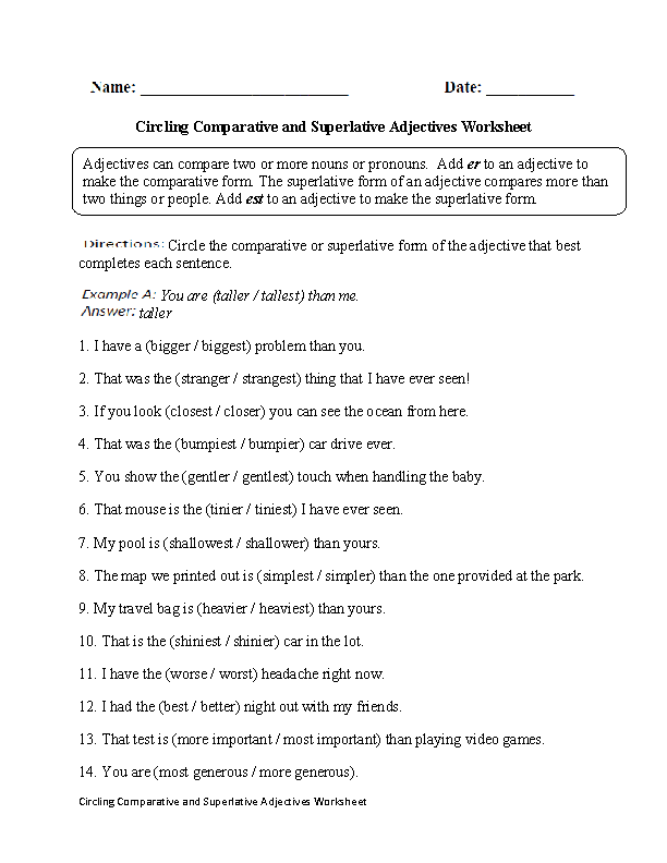 Adjective Worksheets For Grade 5 728518