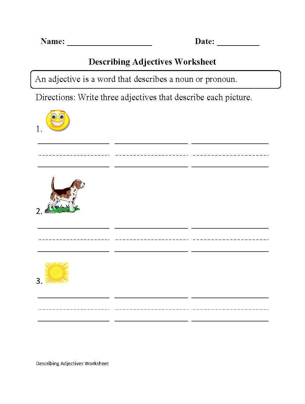 Adjectives Worksheets Regular Adjective For Preschoolers Describ