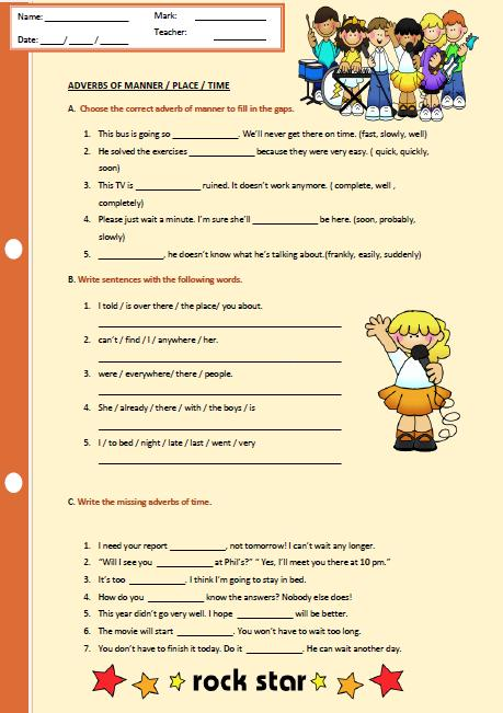 Adverbs Of Manner, Place And Time Worksheet