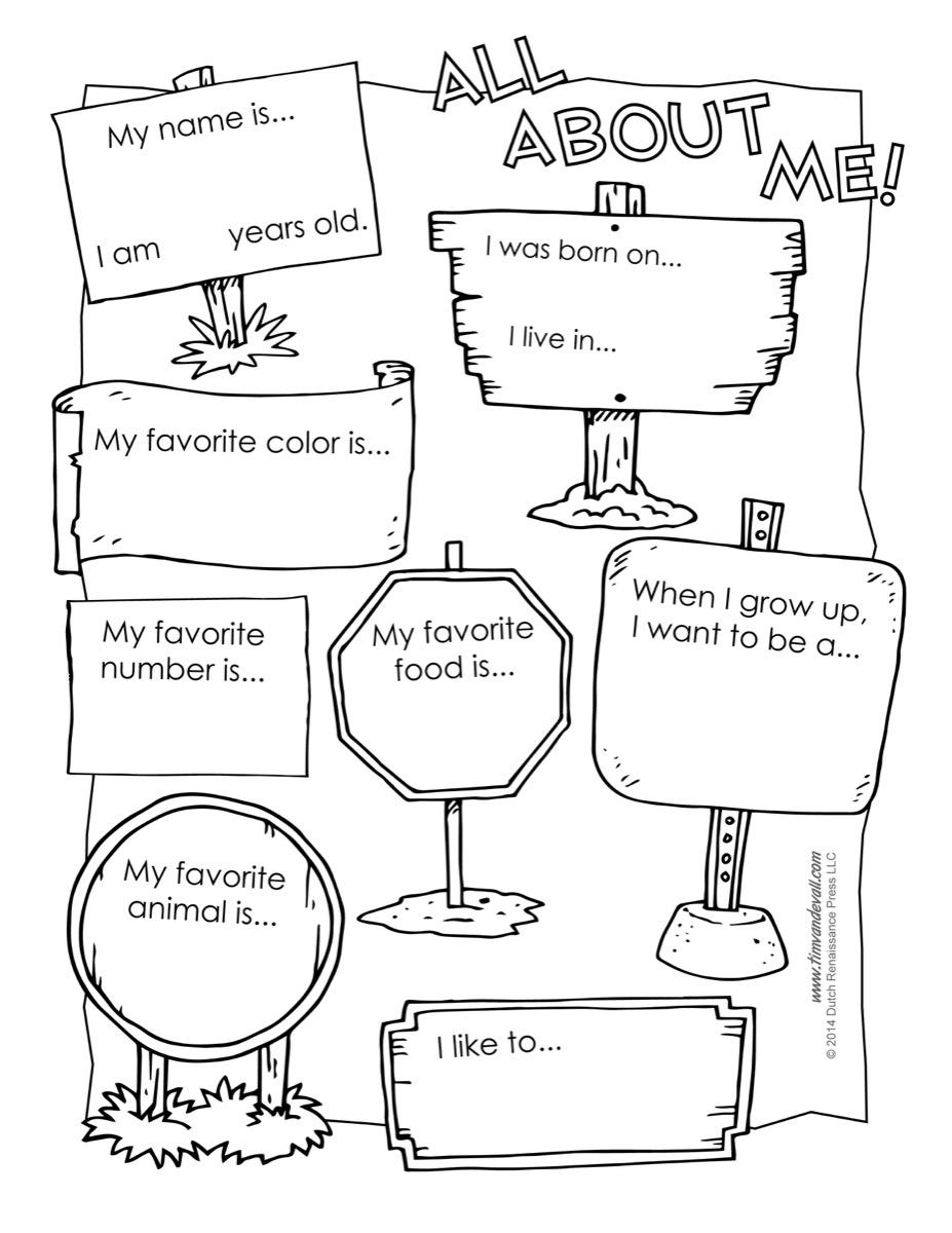 All About Me Printable Worksheets For Kindergarten 1201195