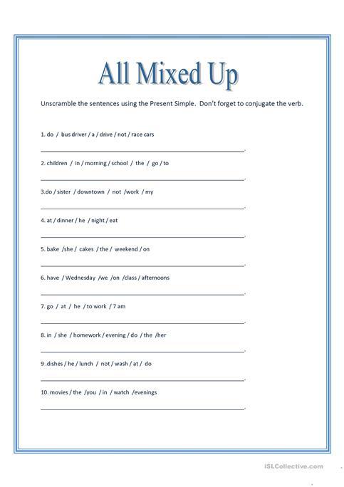 All Mixed Up ~ Sentence Scramble Worksheet