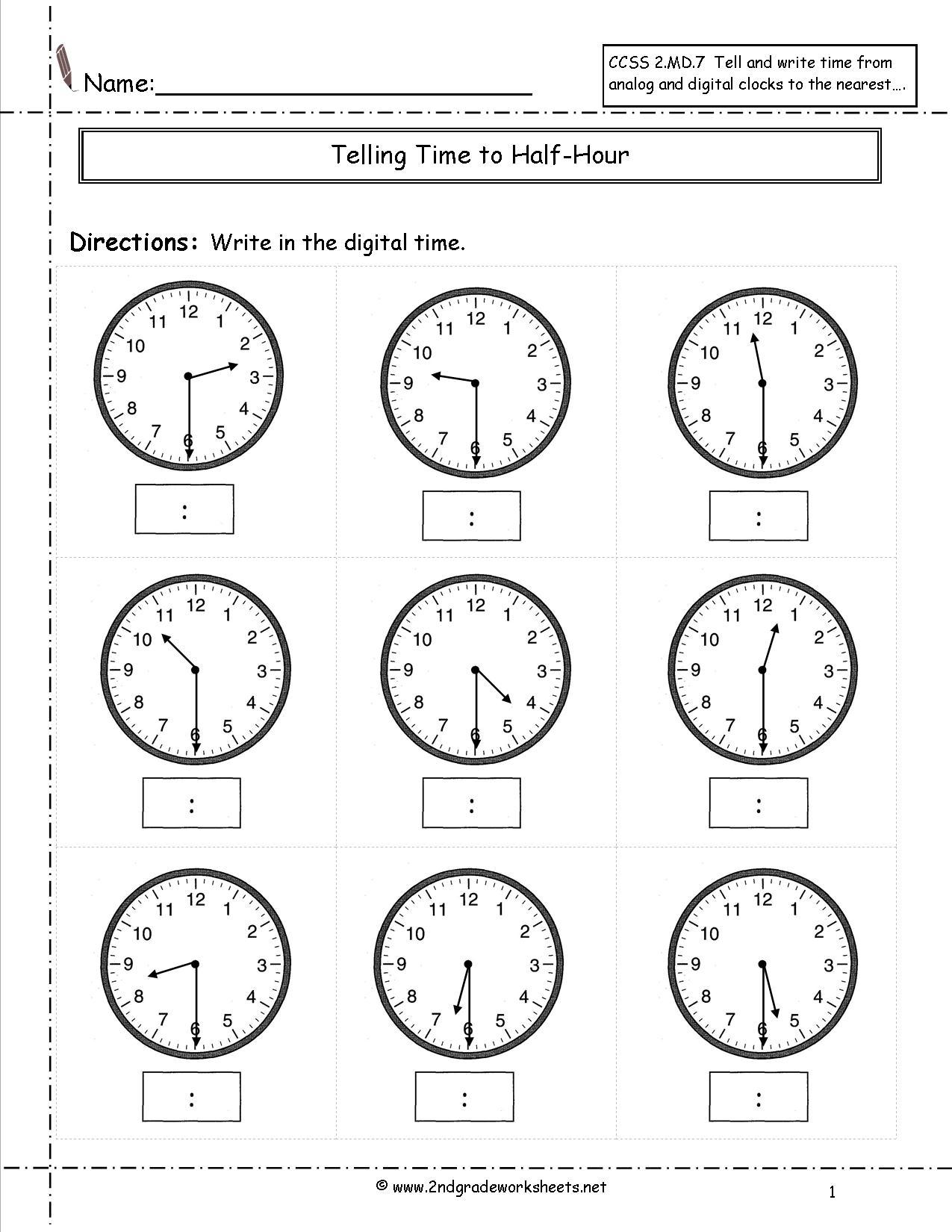 Analog Clock Worksheets 2nd Grade 30209