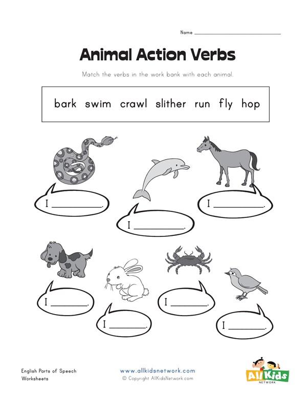 Animal Action Verbs Worksheet