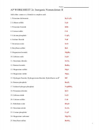 Ap Worksheet 2e  Inorganic Nomenclature Ii