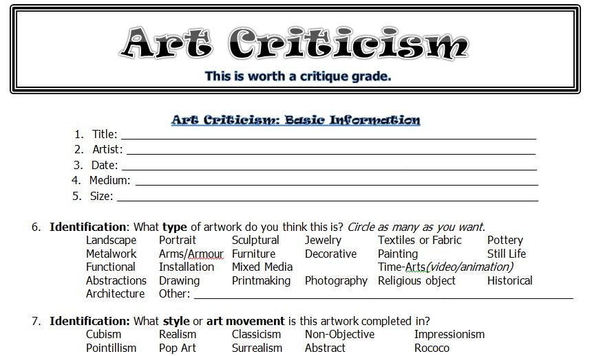 Art Worksheets High School Free Worksheets Library Download And