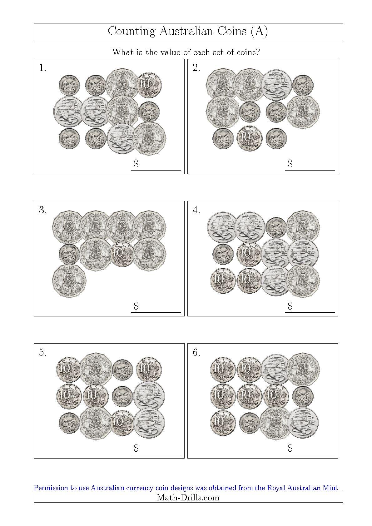 Australian Coins Worksheet For Kindergarten 1445185