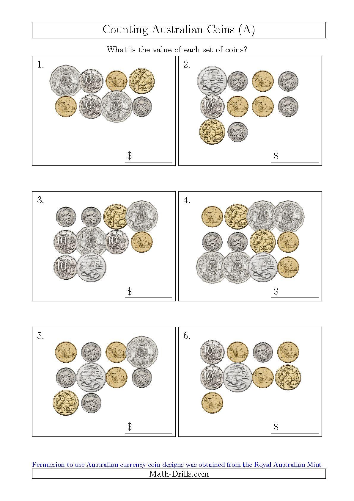 Australian Coins Worksheet For Kindergarten 1445203