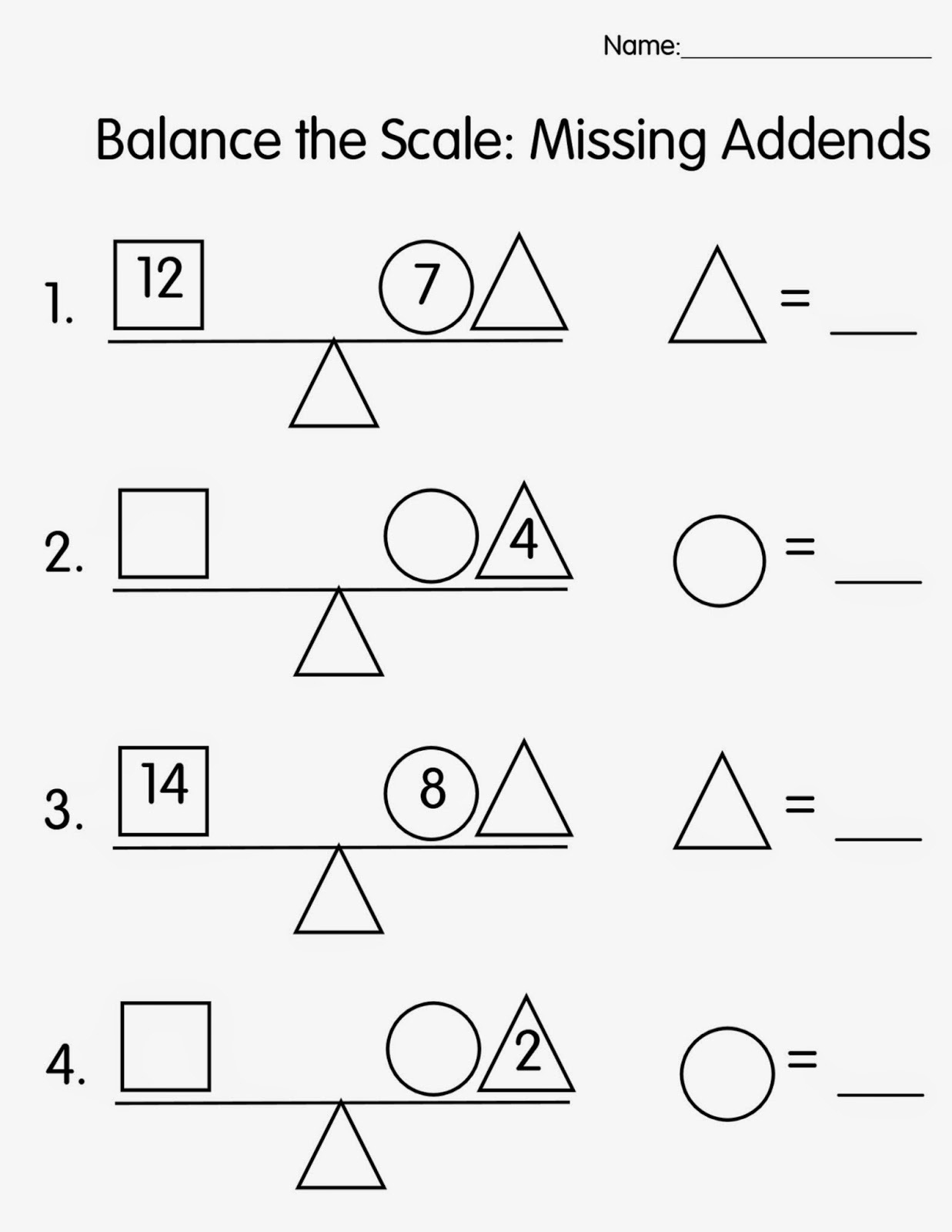 Balance Scale Worksheets For Children Activity Shelter Math First