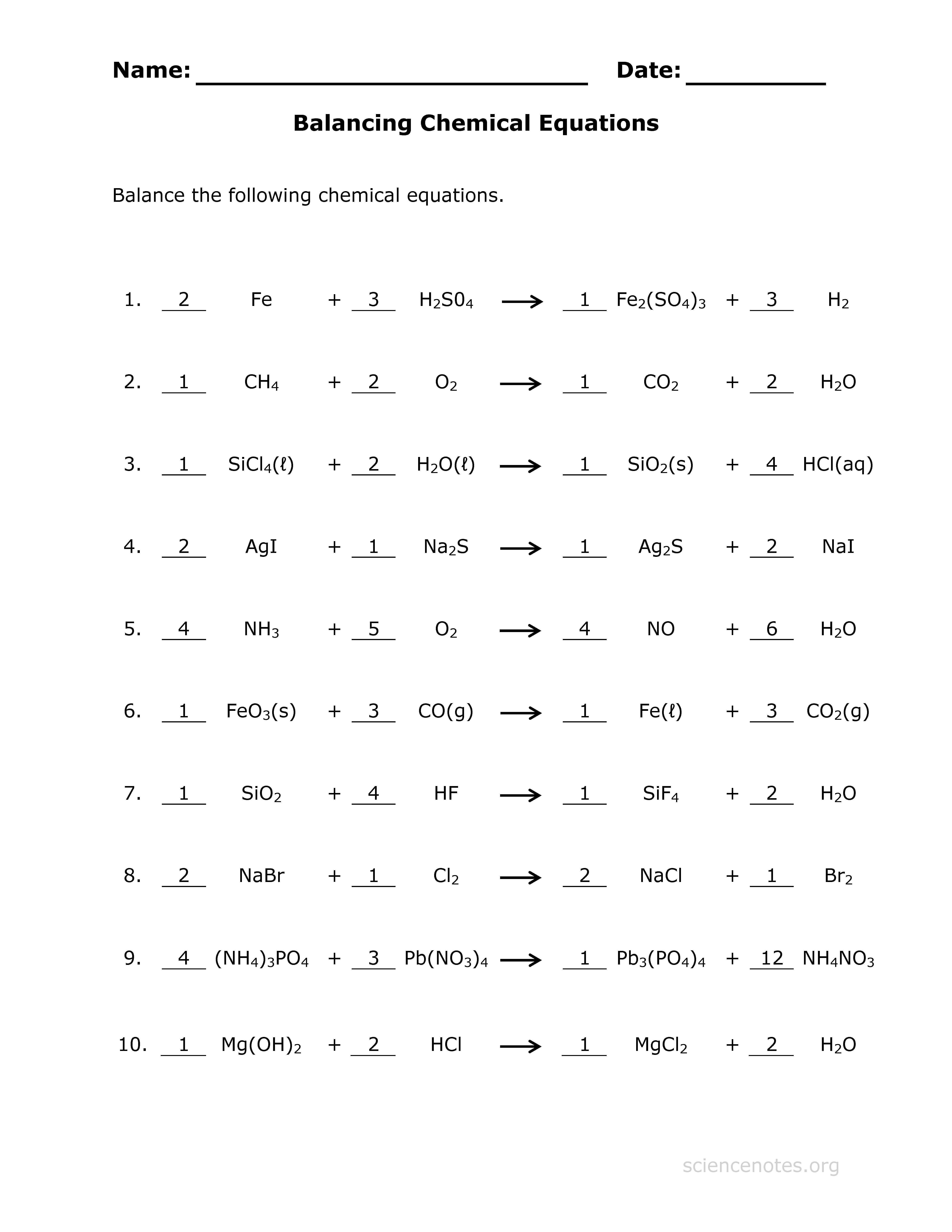 Balancing Chemical Equations A Number Search Worksheet Answers