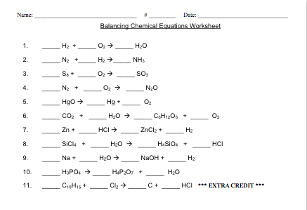 Balancing Chemical Equations Worksheet Easy The Best Worksheets