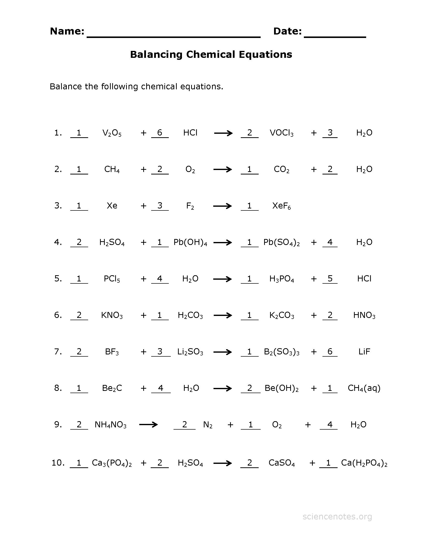 Balancing Equations Quiz Worksheet 1453254
