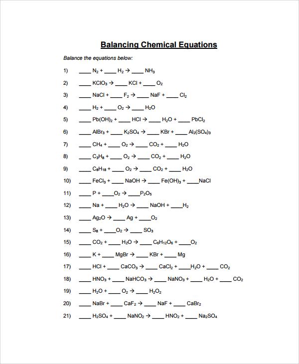 Balancing Equations Worksheet Answers Balancing Equations