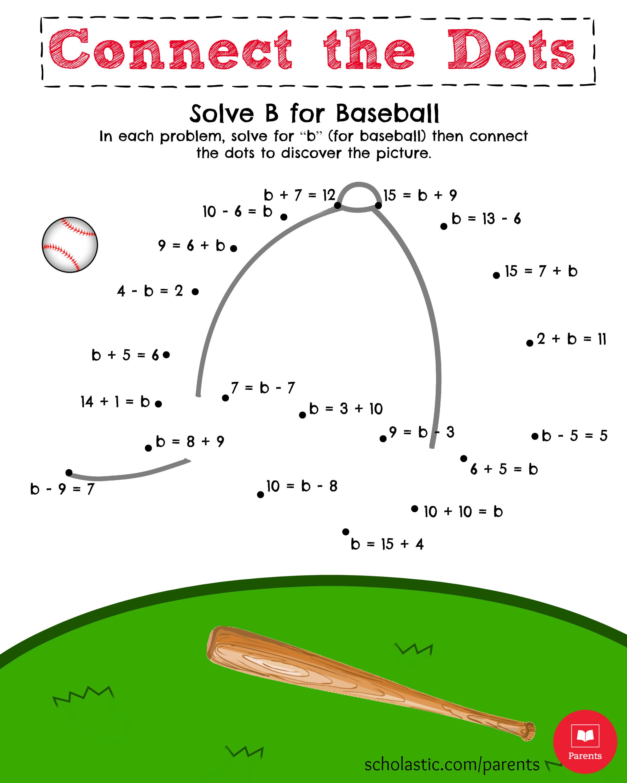 Baseball Math Worksheet Middle School  1264473