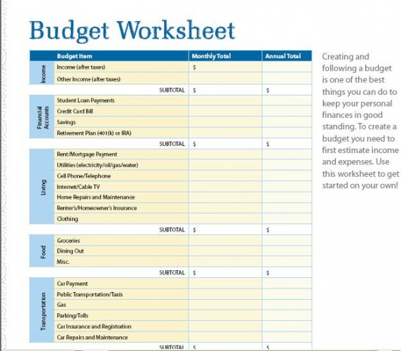 Basic Budget Worksheets