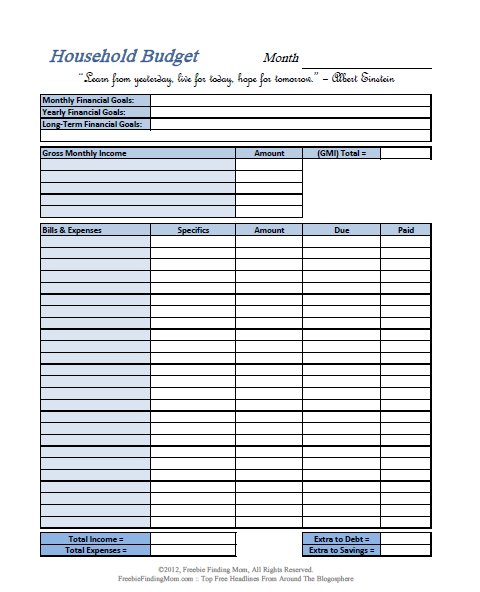 Basic Budgeting Worksheets Printable